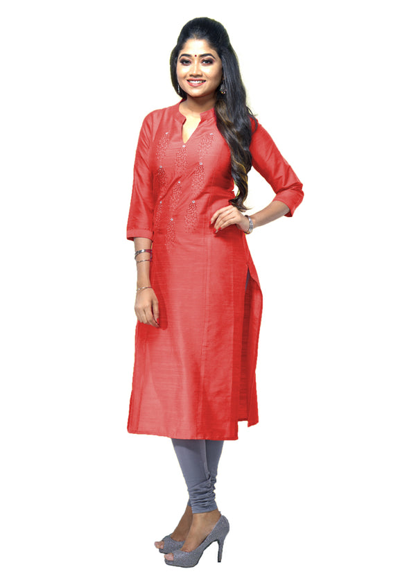 Sunglo silky slub kurti with thread works