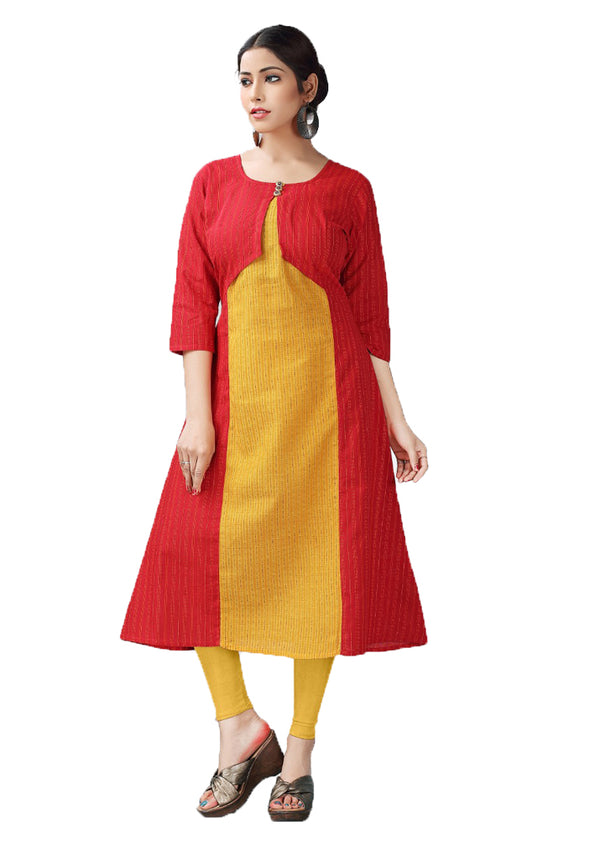 Thunderbird Red and Casablanca Yellow handloom kurti
