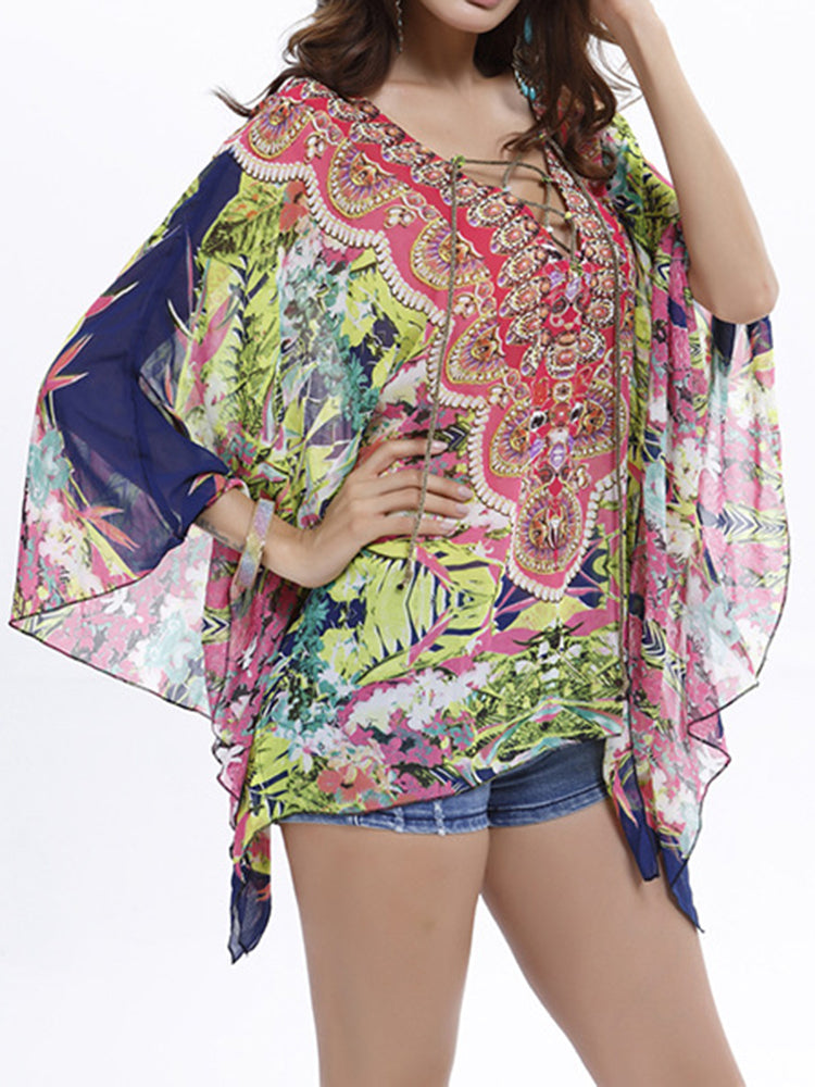 Sexy Women V-Necklace Up Batwing Sleeve Chiffon Printed Tops