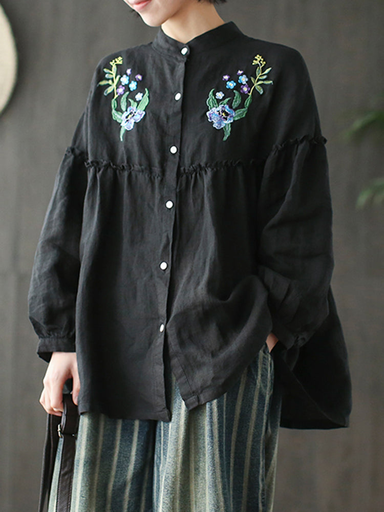 Floral Embroidered Button Long Sleeve Blouses