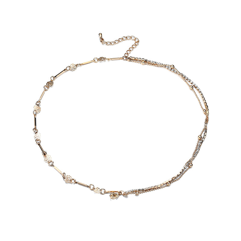 Multilayer Gold Plated Flower Anklet Metal Foot Chain Women Jewelry