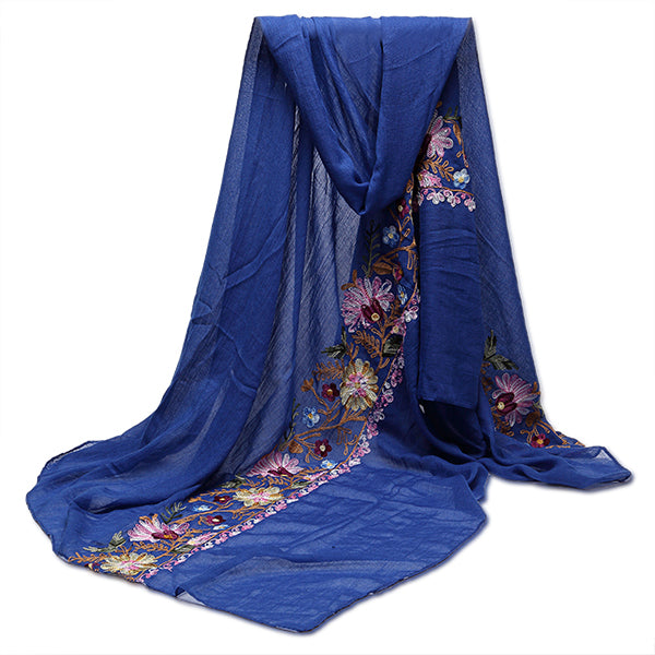 Women Ladies Flower Embroidery Linen Cotton  Scraves Folk National Style Stole Long Shawl Wrap