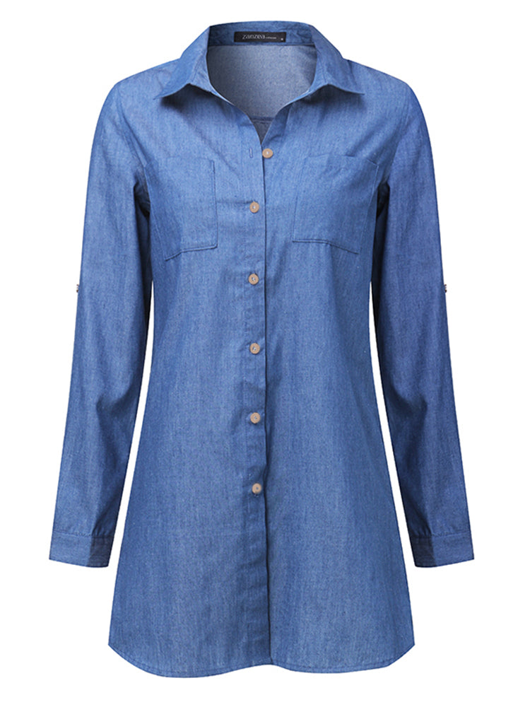 Casual Women Denim V-Neck Button Long Sleeve Mini Shirt Dress