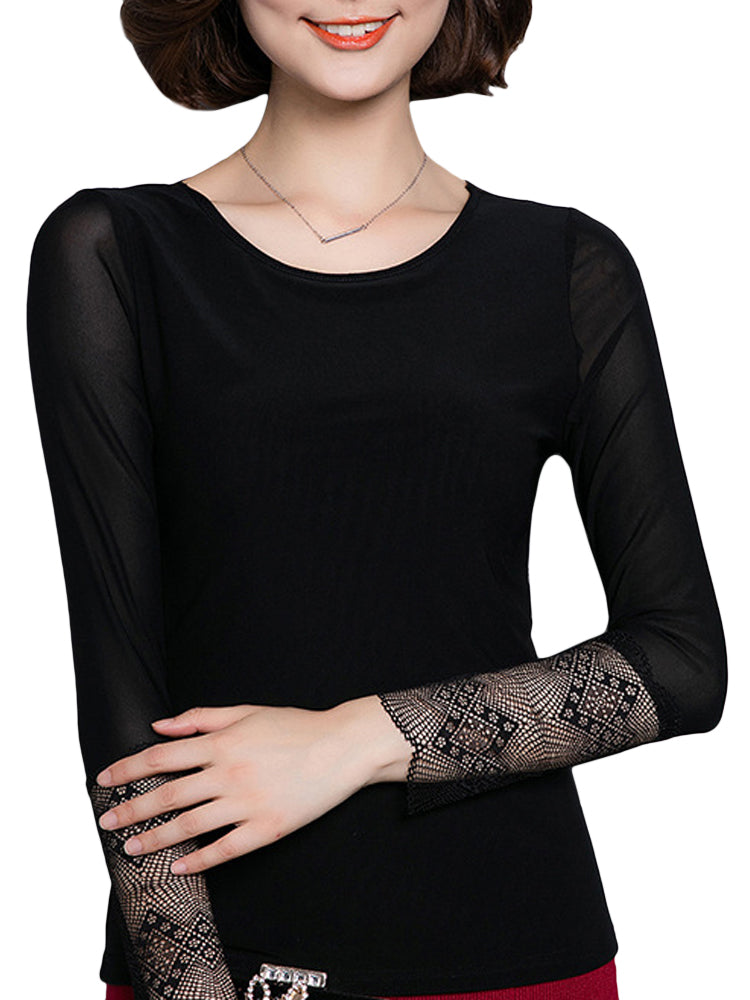 Casual Women Slim Lace Gauze Long Sleeve Basic T-Shirt