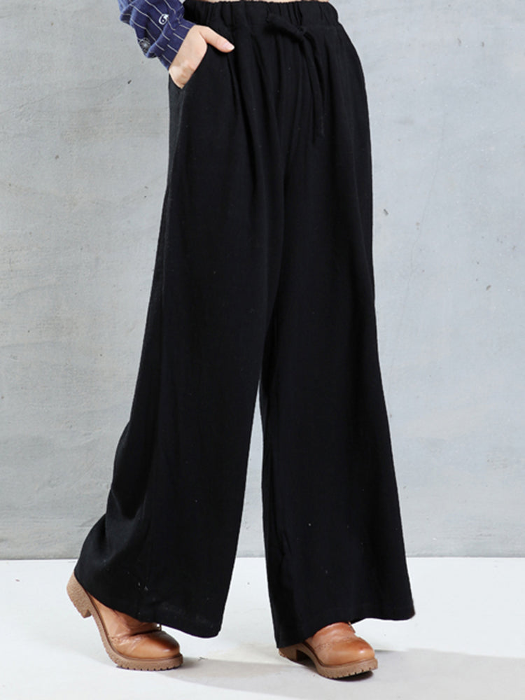 O-NEWE Casual Women Pockets Wide-legged Pants