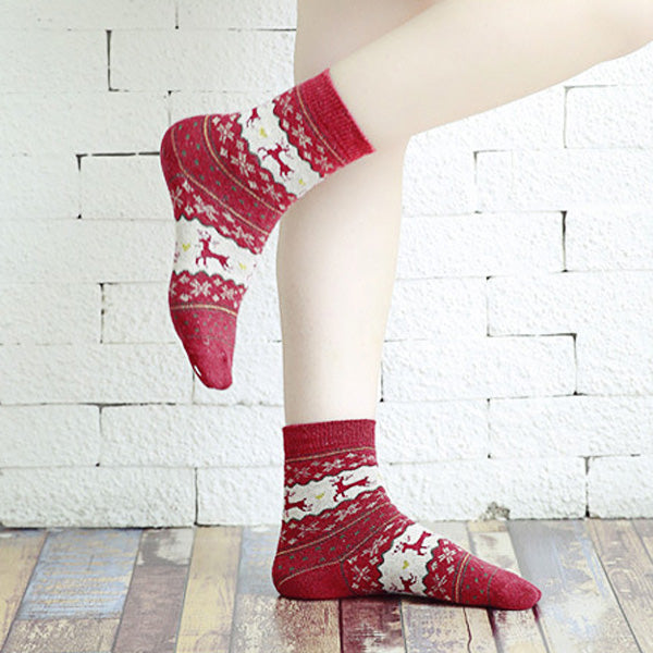 Women Thickened Wool Socks Deer Pattern Christmas Stockings