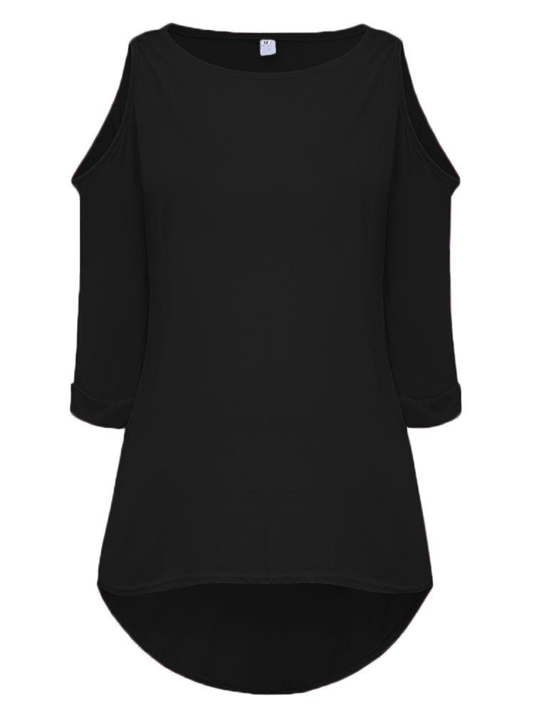 Casual Loose Women Half Sleeve Cold-Shoulder Asymmetrical T-shirt
