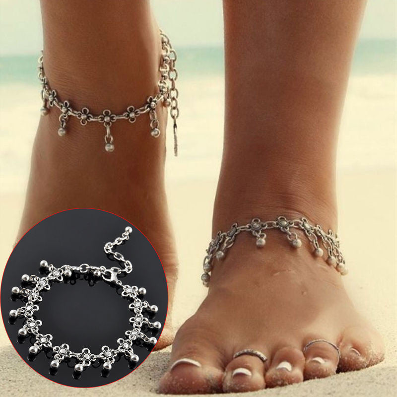 Vintage Antique Silver Flower Beads Tassel Anklet Beach Bracelet