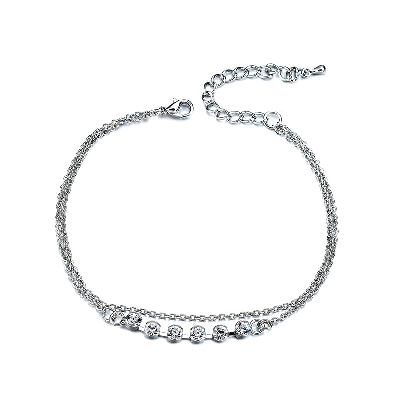 Double Layer Platinum Plated Zircon Anklet Metal Foot Chain for Women