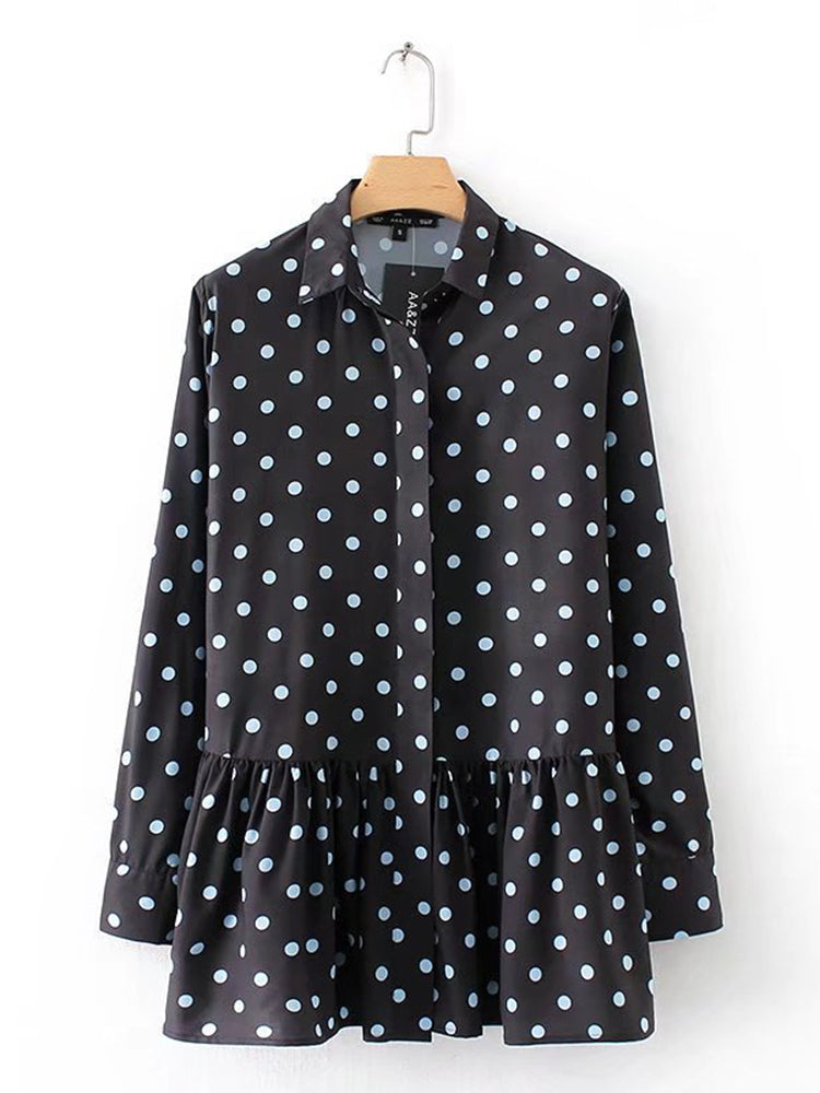 Loose Polka Dot Printed Blouse