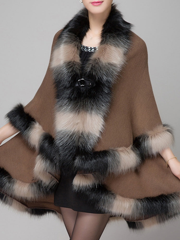 Elegant Women Faux Fur Collar Button Shawl Cape Coat