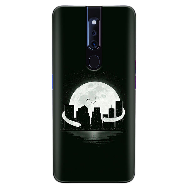 DASM United Oppo F11 Pro Printed Designer Hard Back Case Cover | Moon Hug Whole City | Dark cover for Oppo F11 Pro