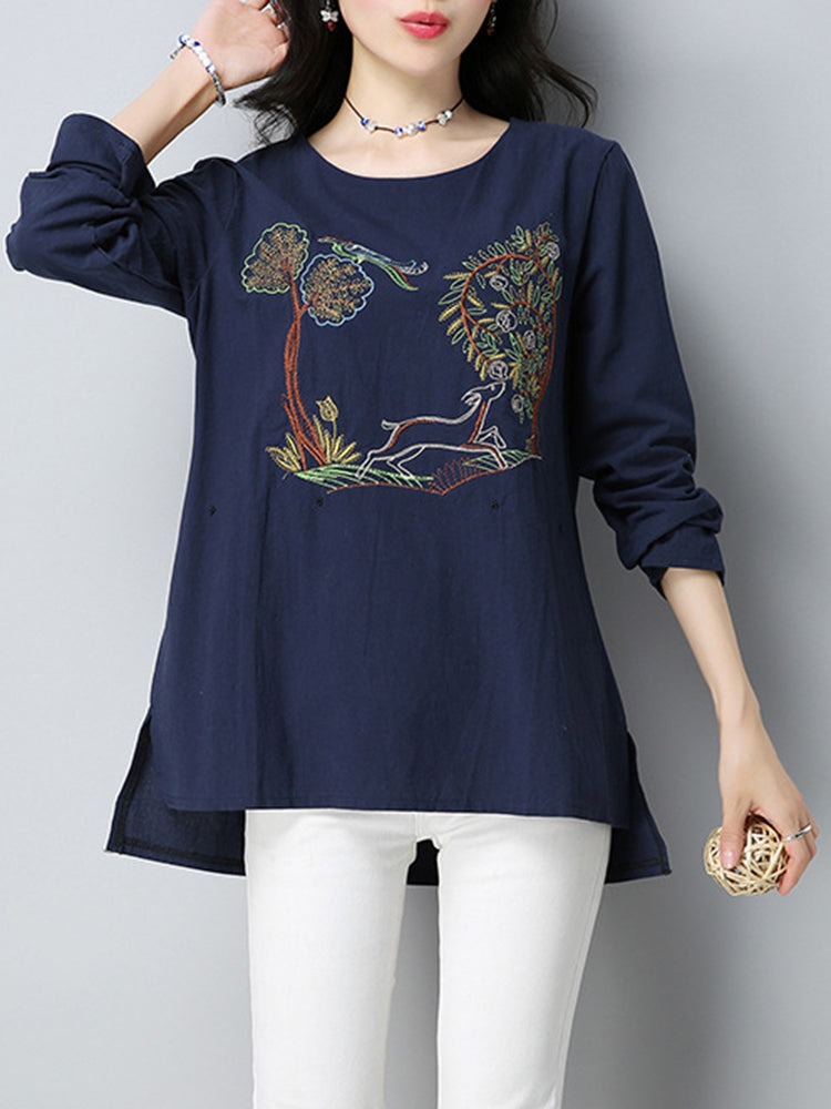 Vintage Women Long Sleeve Pattern Embroidered T-Shirt