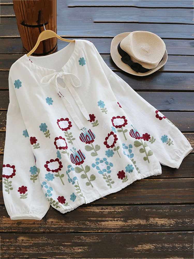 Women Embroidered Long Sleeve Loose Blouses