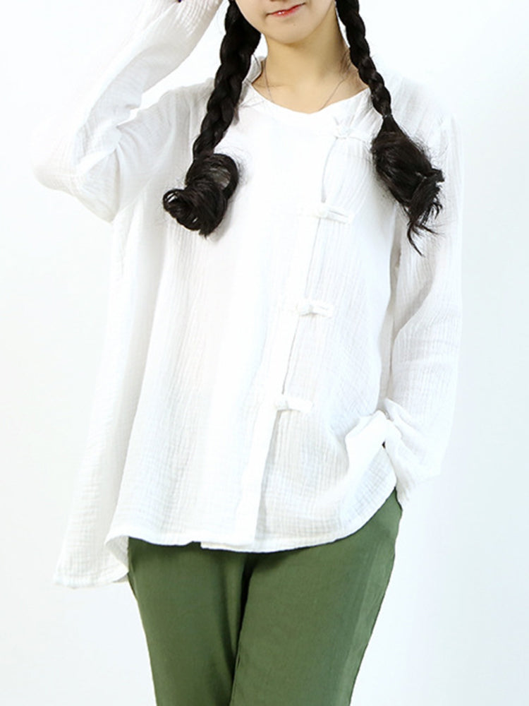 Casual Women Frog Buckle Pure Color Long Sleeve Blouses