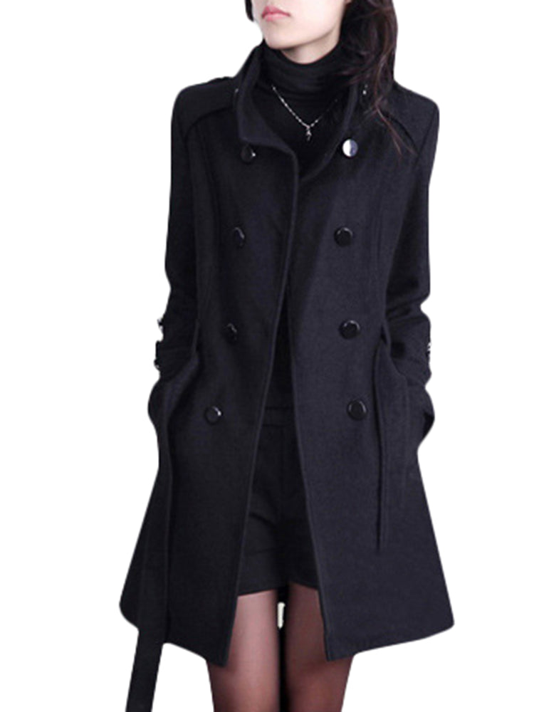 Solid Color Women Long Sleeve Double-Breasted Woolen Coat with Belt