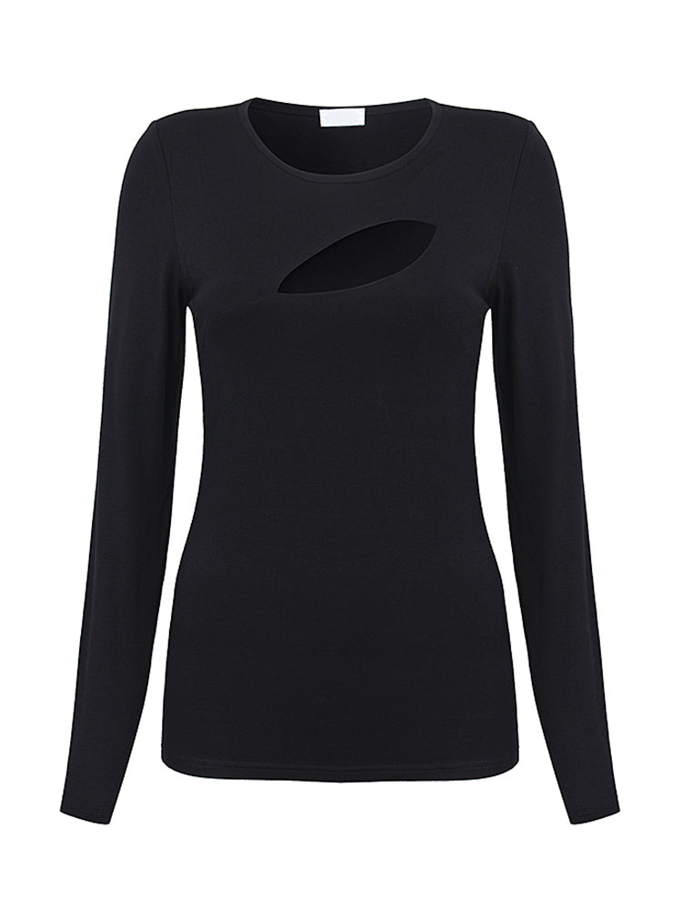 Sexy Women Long Sleeve O-neck Hole Stretch Pure Color T-shirts