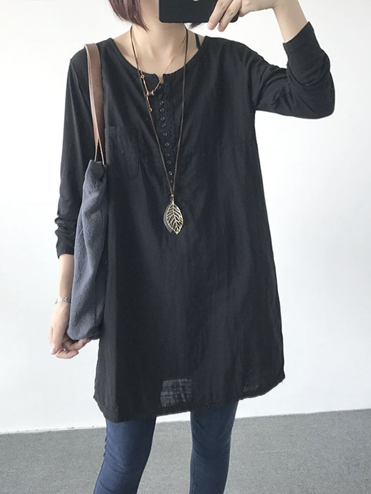 Vintage Women Pure Color O-Neck Long Sleeve Blouse