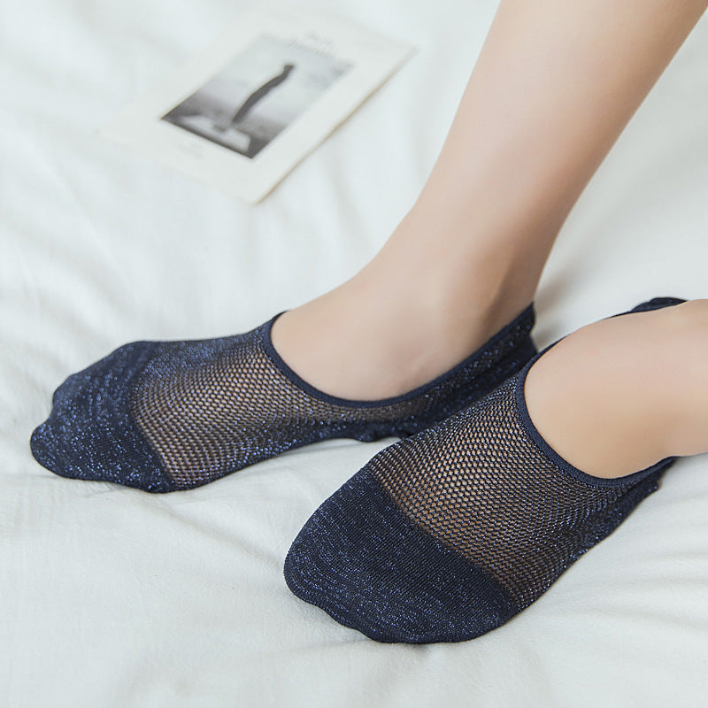 Women Mesh Breathable Anti-slip Invisible Boat Socks Casual Elastic Low Cut Socks