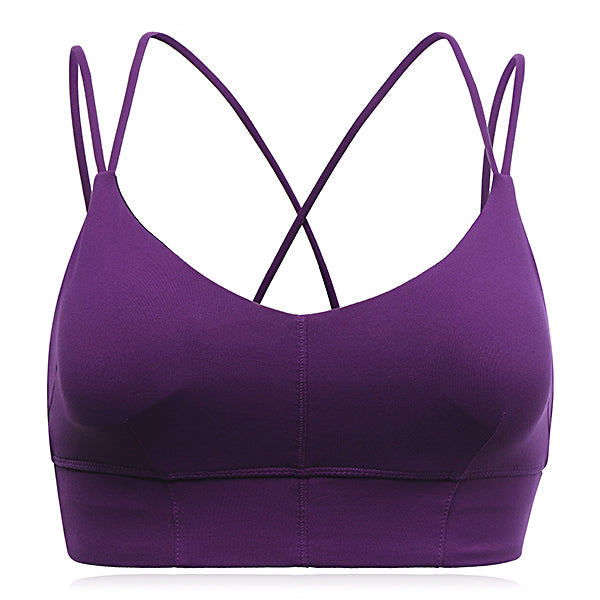 Women Comfort Wire Free Shakeproof Back Cross Straps Pullover Yoga Sport Bra
