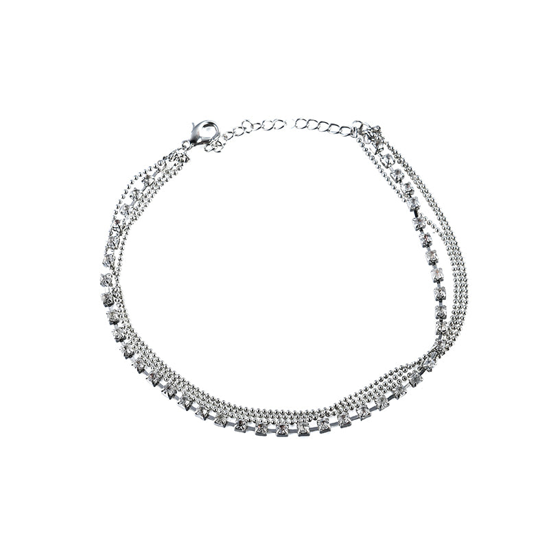 Simple Style Women's Luxury Silver Multilayer Rhinestone Anklet Jewelry Gift