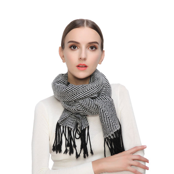 LYZA Women Cashmere Solid Scarf Striped Winter Warm Soft Scraves Shawl
