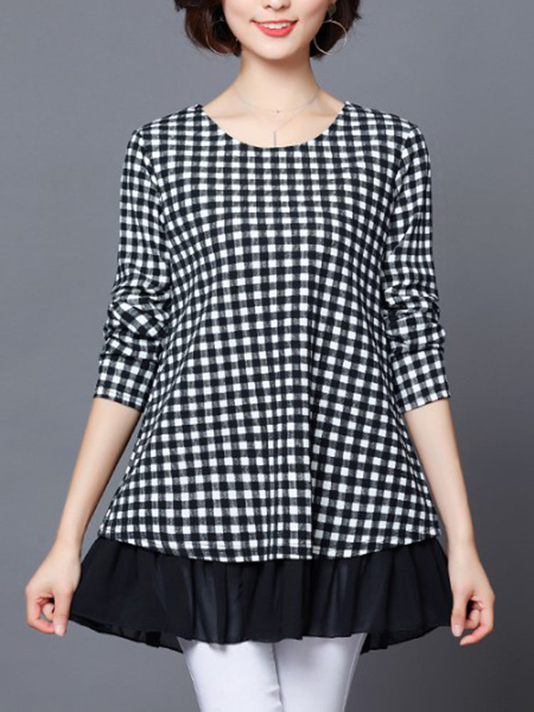 Plaid Patchwork Ruffle Hem Blouse