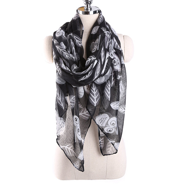 180CM Voile Owl Leaves Print Pattern Long Scarf Soft Warm Wrap Shawl For Women