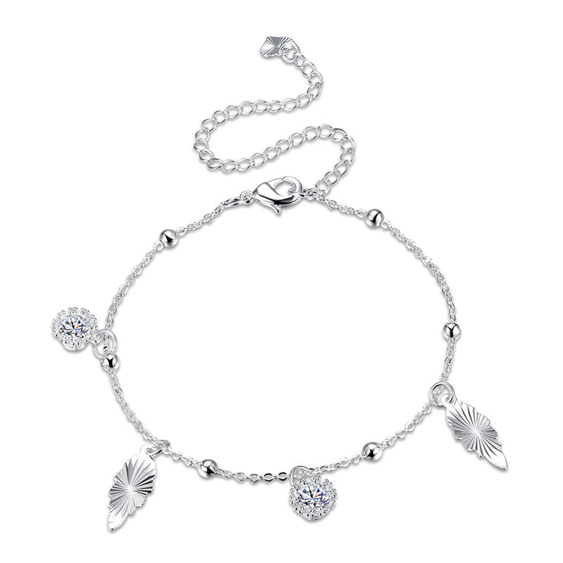 Silver Plated Female Foot Chain Rhinestone Metal Anklet