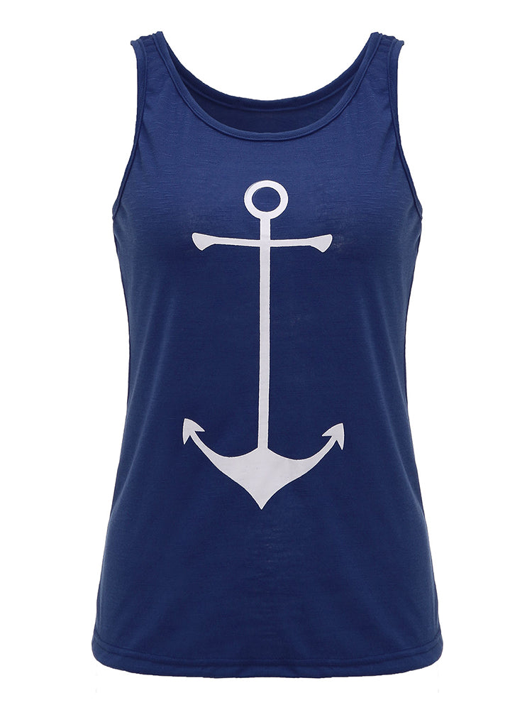 Casual Women Anchor Pattern Sleeveless Solid Vest Tank Top