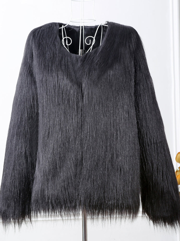 Casual Women Pure Color Long Sleeve Faux Fur Coats