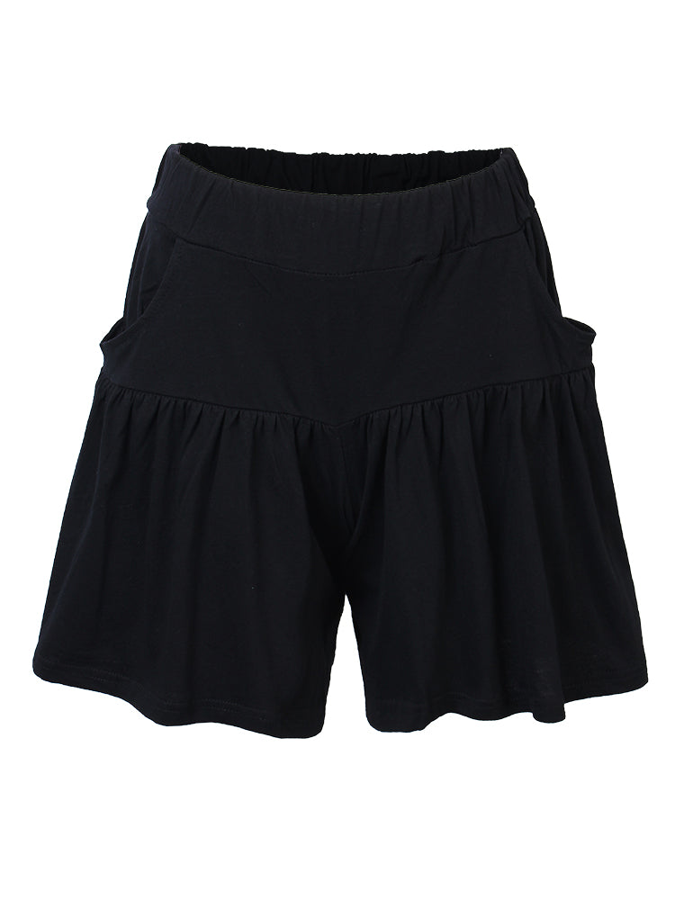 Loose Women Pure Color Ruffle Pocket Sport Beach Shorts