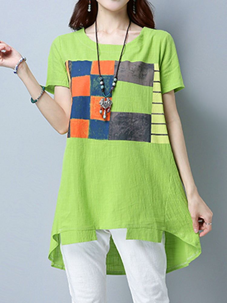 Women Patchwork Short Sleeve Blouses Irregular Hem Top