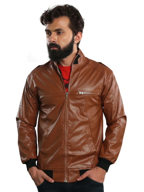 Tan Lining Full Sleeves Zipper Pu Leather Casual Jacket for Men