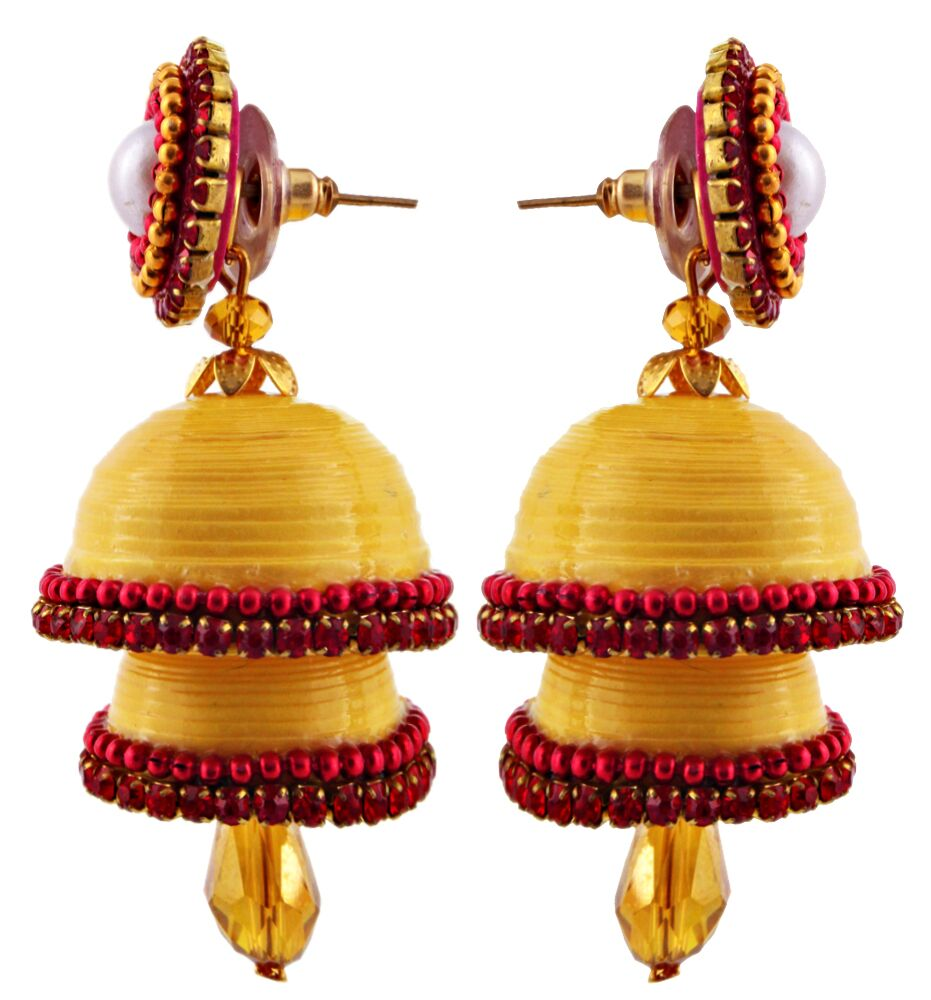 Halowishes Hancrafted Single Stud Yellow Double Jhumka