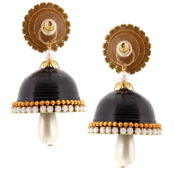 Halowishes Handmade Single Stud Black Jhumka