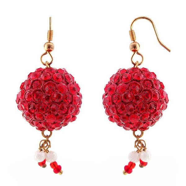 Halowishes Handmade Red Lakh Ball Jhumka Set