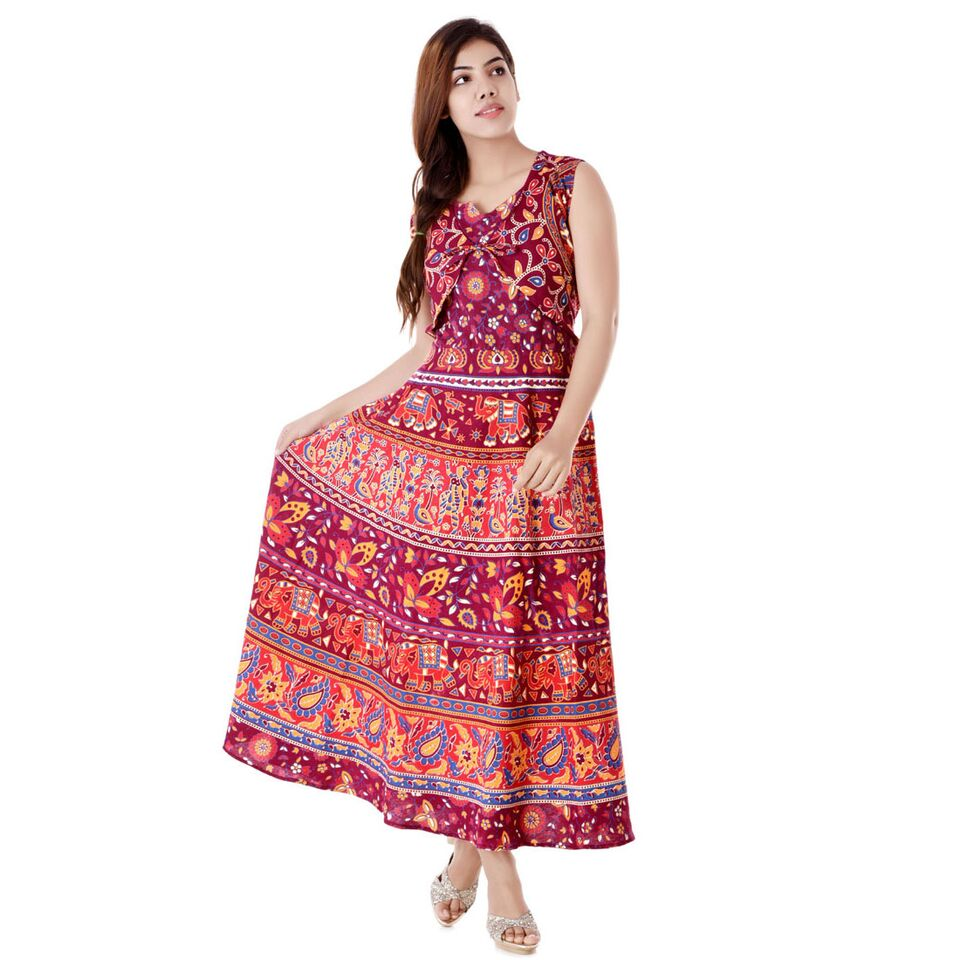 Halowishes Traditional Full Length Jaipuri Maxi Dress 123