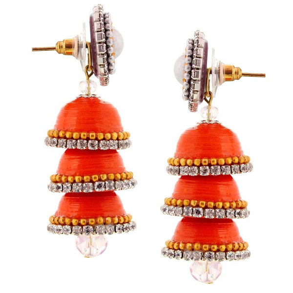 Halowishes Paper Quilling Orange Handcrafted Triple Jhumka