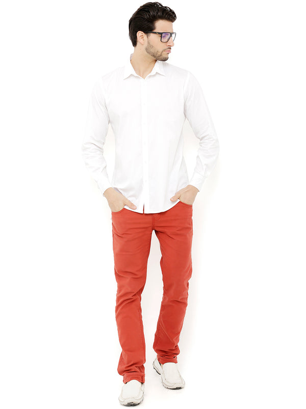 Nick&Jess Mens Cotton Casual Full Sleeves Slim fit White Shirt