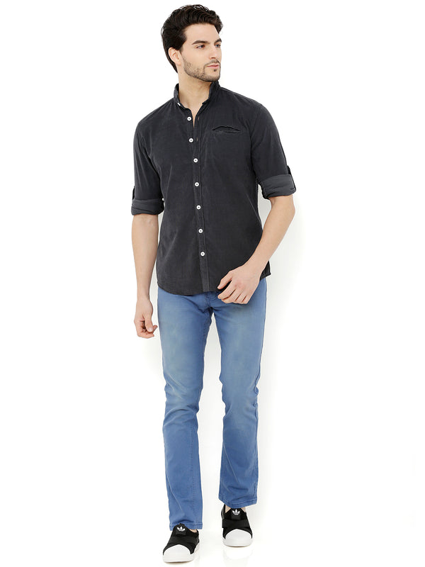 Nick&Jess Mens Charcoal Mao Collared Corduroy Shirt
