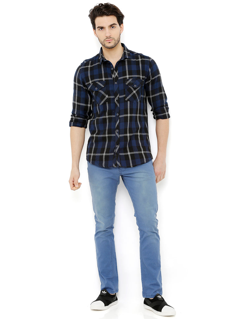 Nick&Jess Mens Blue & Black Check Casual Flannel Shirt