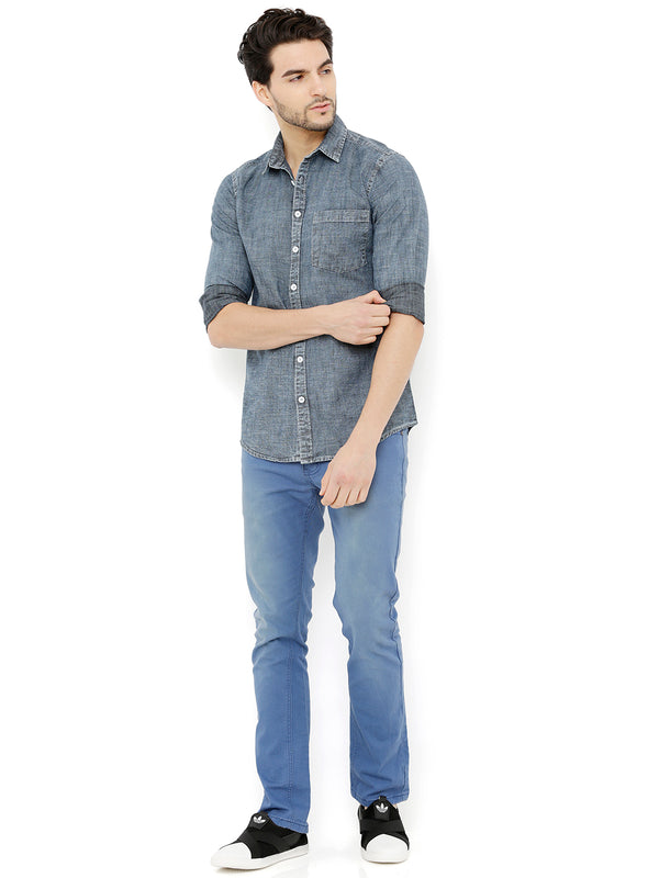 Nick&Jess Mens Blue Bleached Casual Denim Shirt