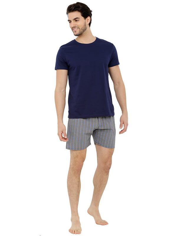 Nick&Jess Mens Blue & Black Microcheckered Cotton Boxer Shorts