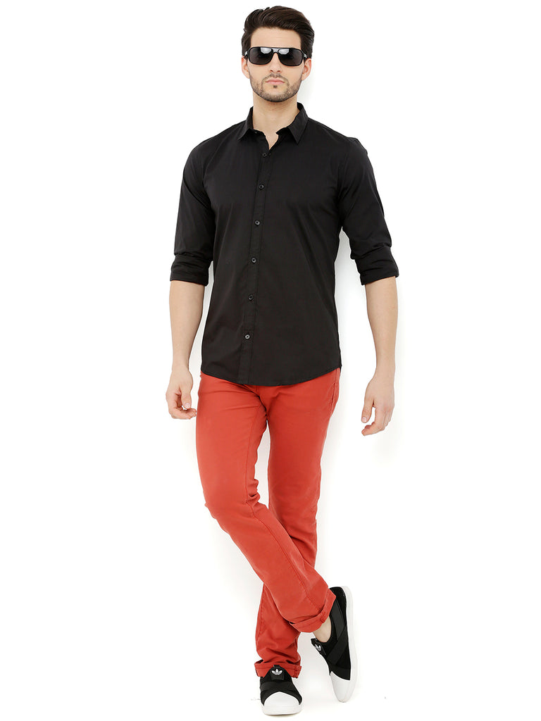 Nick&Jess Mens Black Semi Formal Classic Cotton Shirt