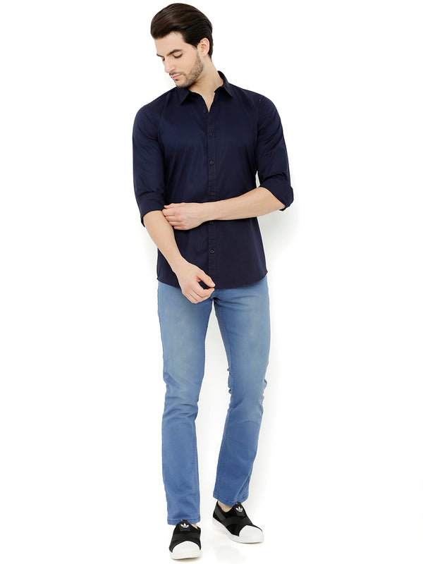 Nick&Jess Mens Blue Semi Formal Classic Cotton Shirt