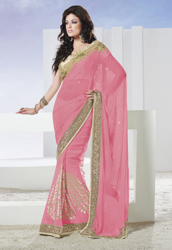 Faux Chiffon Embroidery Saree With Blouse
