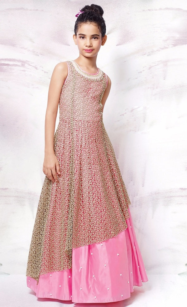 Silk Anarkali Chikankari Embroidery Dress