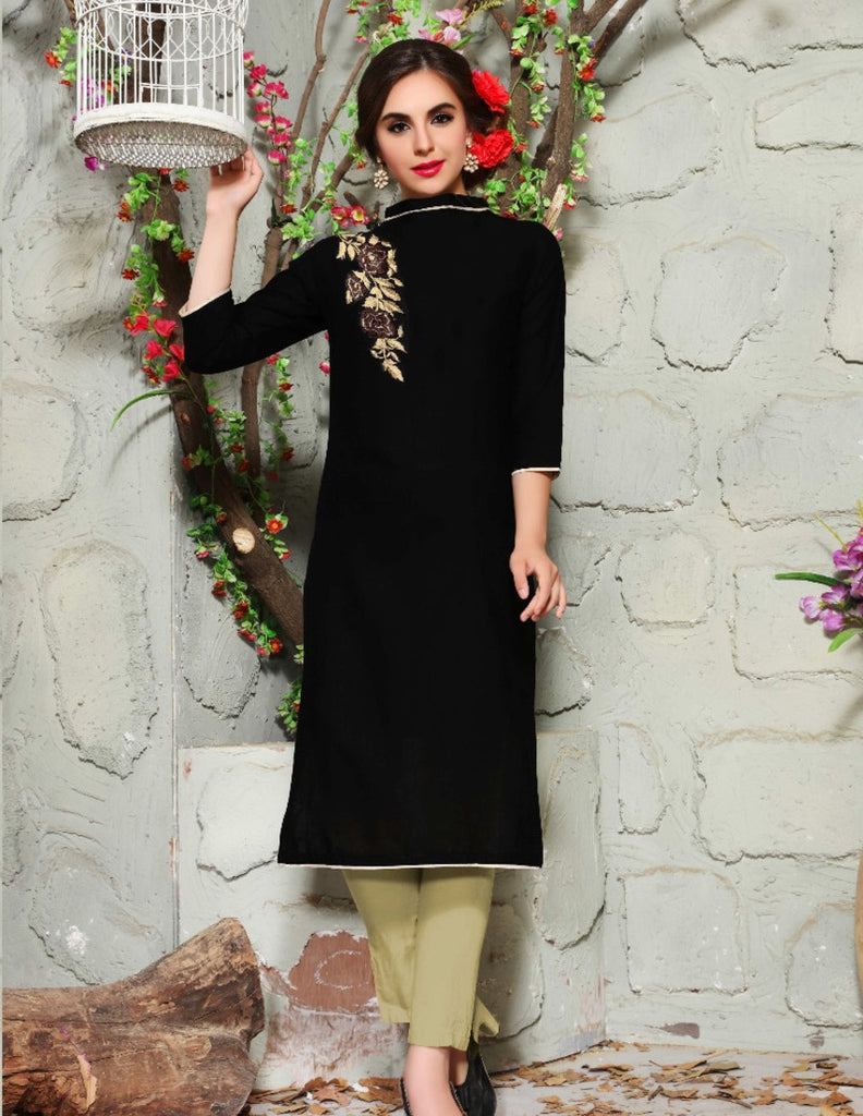 Cotton Linen Bandhgala Casual Embroidery Kurti
