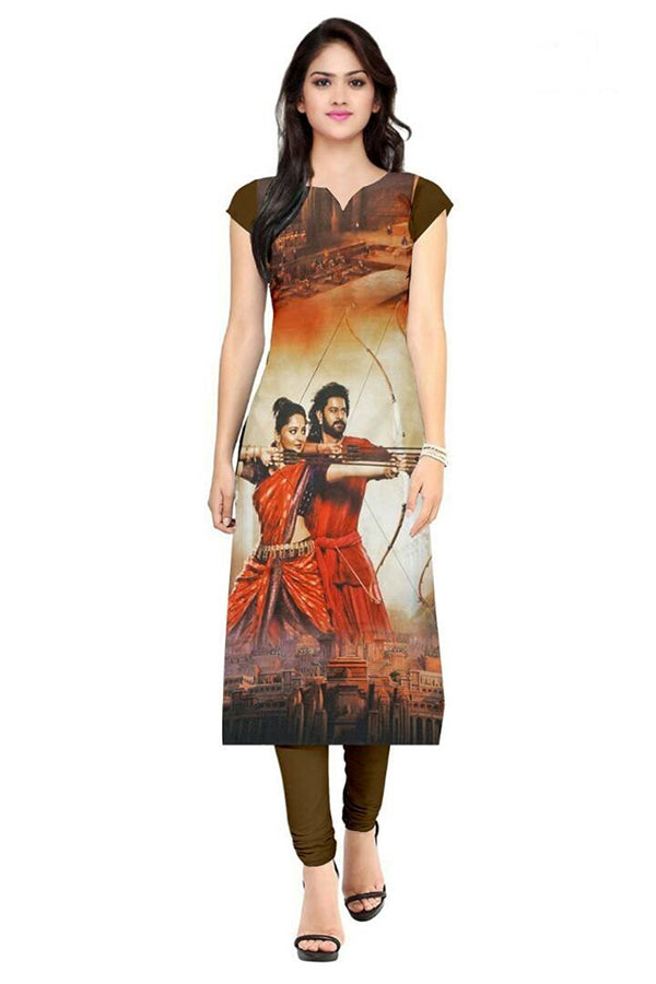 American Crepe Straight Self Design Kurti